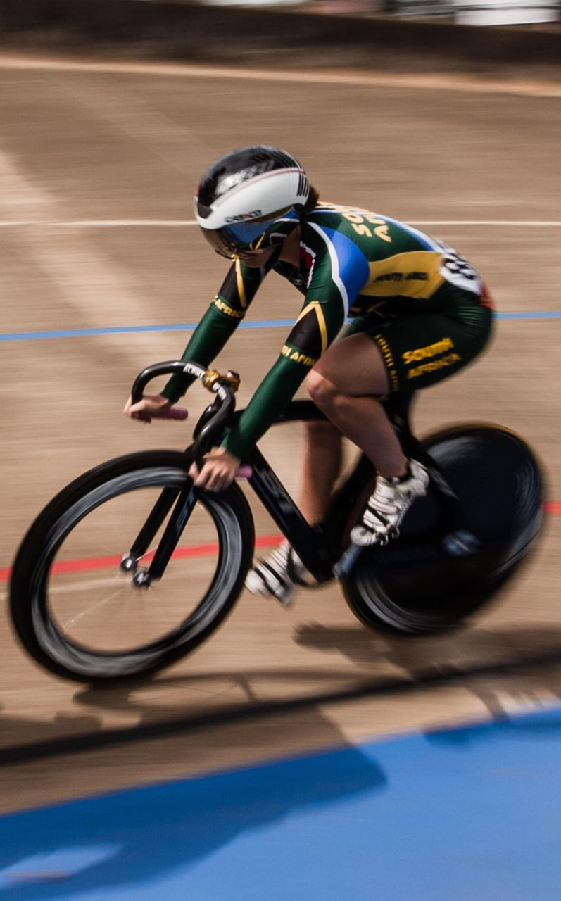 Photo credit:      South Africa's Odette van Deventer on her way to winning her heat in the Elite and Junior Women's Kerian at African Track Cycling Championships at the Sax Young Cycling Track in Pietermaritzburg © Craig Dutton/Gameplan Media