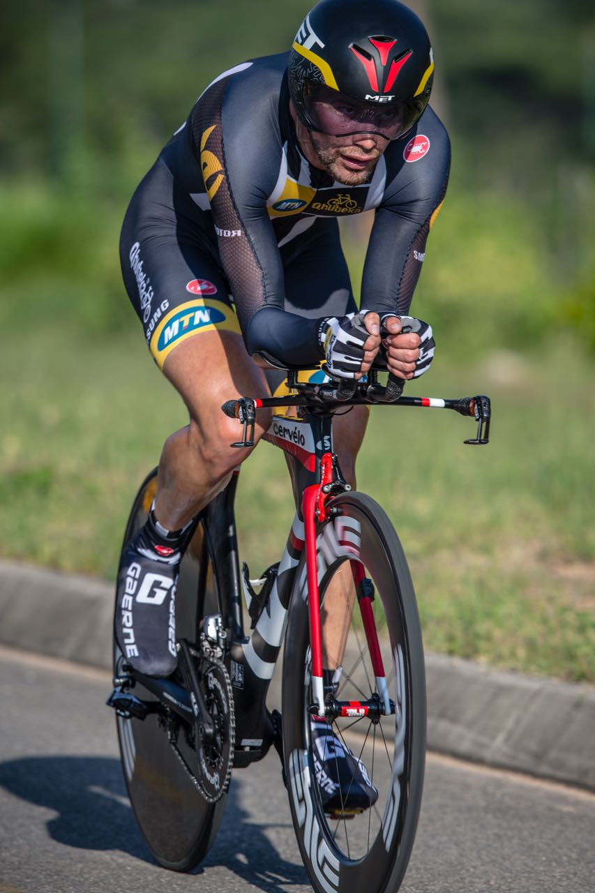 It was always going to be a tough race for Reinhardt Janse van Rensburg who ended second to Daryl Impey in the Elite Men's Time Trial on day three of the 2015 Pennypinchers South African Road, Time Trial and Para-cycling Championships. Photo: craigdutton.com