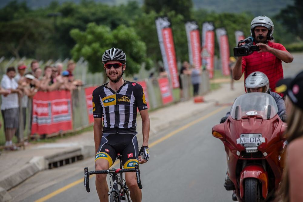 Having won both the junior and Under 23 SA National Road Championship crown Team MTN-Qhubeka 's Jacques Janse van Rensburg added the Elite Men's Road Race title to his list of achievements on day five of the 2015 Pennypinchers South African Road, Time Trial and Para-cycling Championships © craigdutton.com