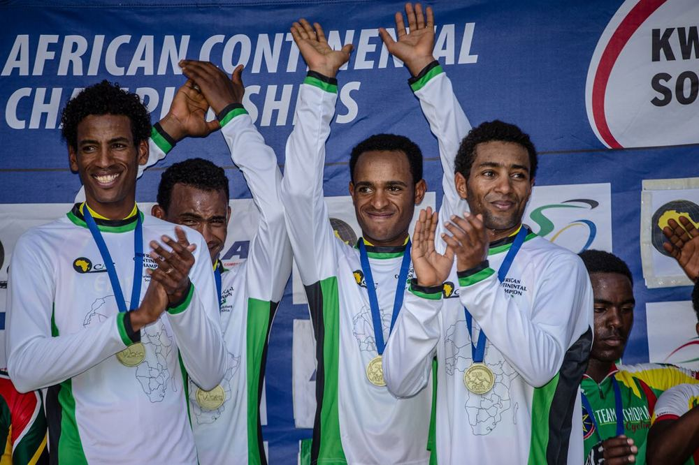An elated Eritrean Elite Men's Team Time Trial team celebrate winning the gold medal on day one of the 2015 Confederation of African Cycling African Road Championships on Monday © craigdutton.com