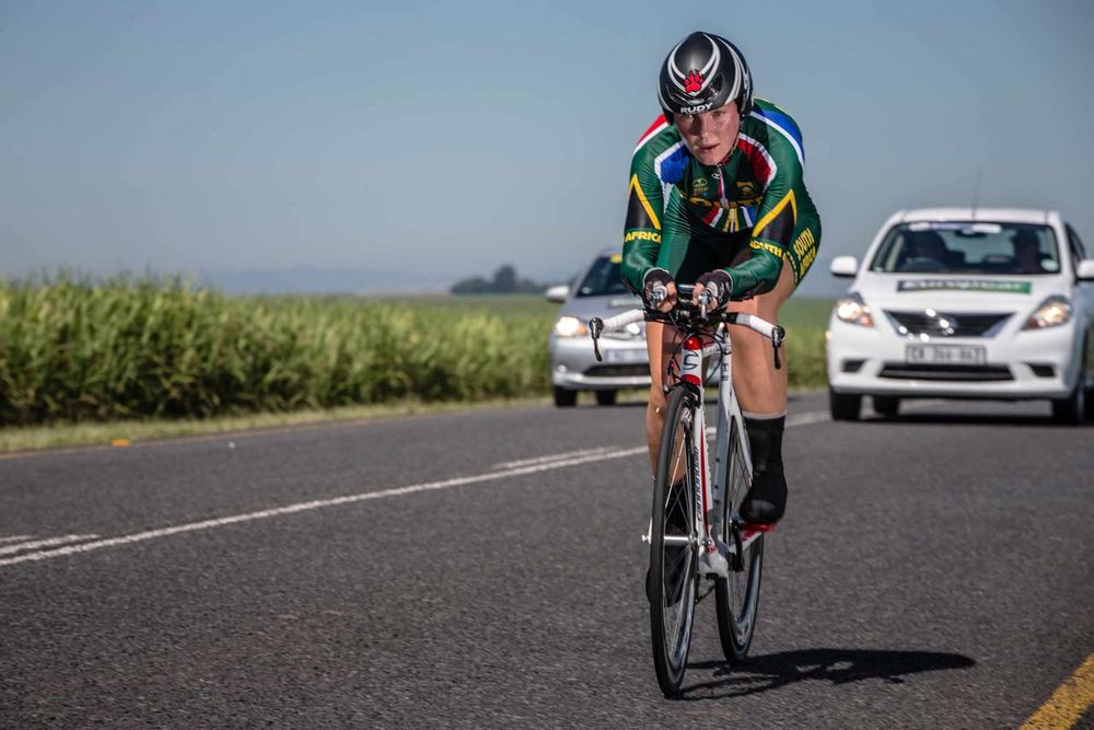 Frances du Toit continued her winning form as she added a Junior Women's continental championship title to her South African Time Trial and Road titles on day two of the 2015 Confederation of African Cycling African Road Championships on Monday © craigdutton.com