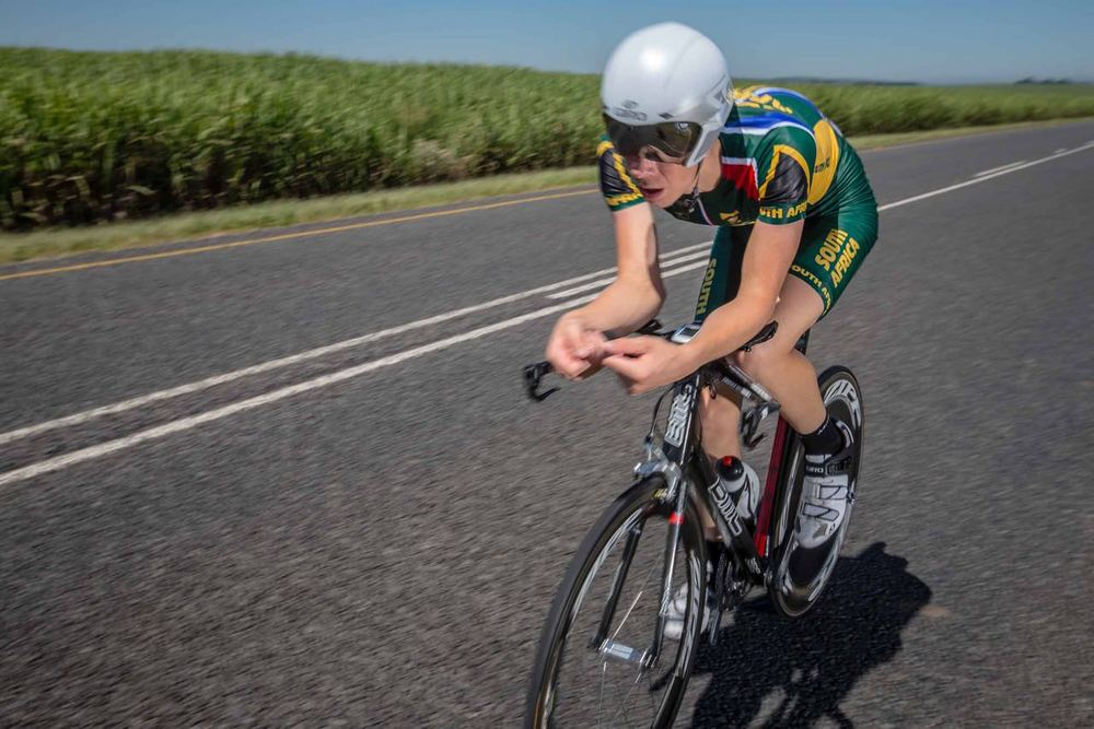 South African Men's Junior Time Trial Champion Gregory de Vink added a continental championship to his achievements on day two of the 2015 Confederation of African Cycling African Road Championships on Monday © craigdutton.com