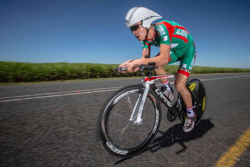 Algerian Junior Time Trial rider Islam Mansouri claimed the silver medal in the Junior Men's Time Trial on Day Two of the 2015 Confederation of African Cycling African Road Championships on Monday © craigdutton.com