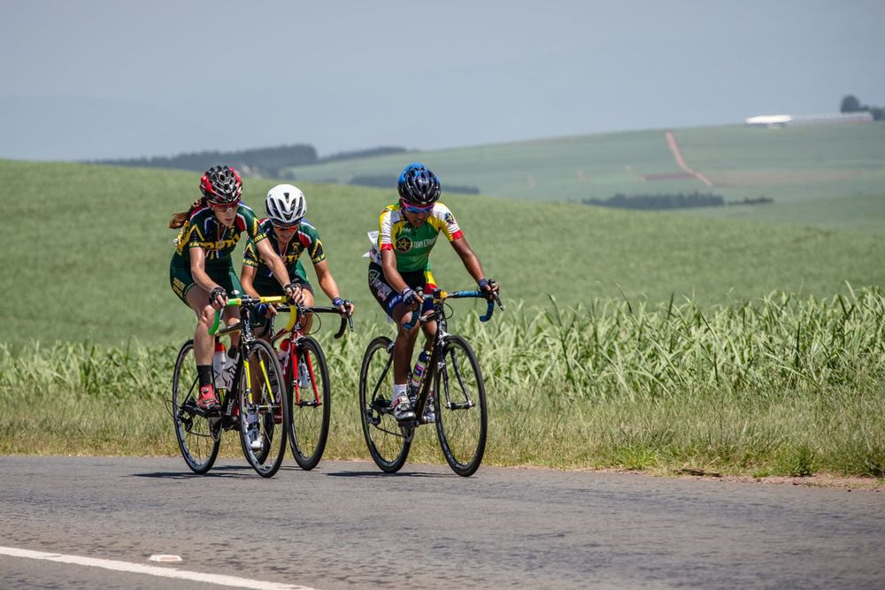 There was a group of three that broke away from the main peloton in the Elite Women's Road Race and that would be the podium with Hadnet Kidane of Ethiopia (front), Lise Olivier (left) and Ashleigh Moolman-Pasio (back) powering away from the rest of the field on day five of the 2015 Confederation of African Cycling African Road Championships on Friday © craigdutton.com