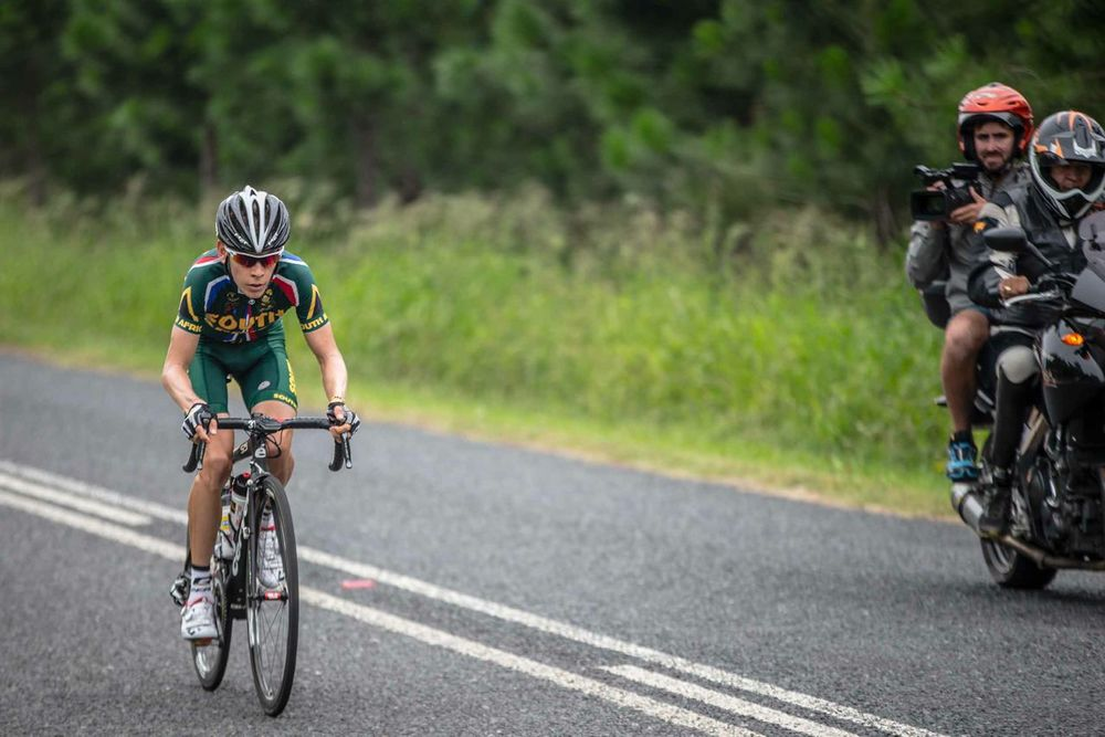 The South African team produced the most powerful ride during the Elite Men's Road Race that saw them take all three podium places with Louis Meintjes taking the gold medal on day six of the 2015 Confederation of African Cycling African Road Championships on Saturday © craigdutton.com