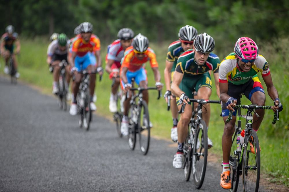 It was a tactically sound race from the South African team that was always pursued by Time Trial champion Tsgabu Grmay (front) on day six of the 2015 Confederation of African Cycling African Road Championships on Saturday © craigdutton.com