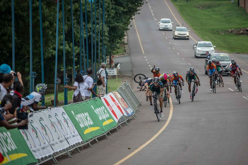 There was drama on the finish line as Namibian rider Dan Craven took a fall on day six of the 2015 Confederation of African Cycling African Road Championships on Saturday © craigdutton.com