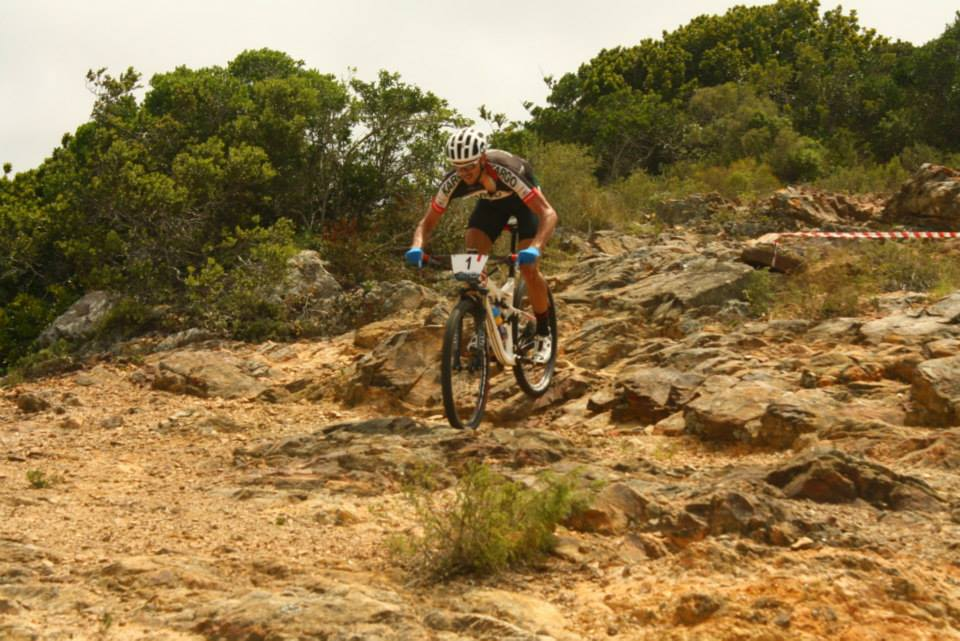 Brendon Davids at Big Rock Garden and spectator spot at the Eastern Cape Provincial MTB XCO held on Saturday 14 February 2015. Photo: Vicky Laing