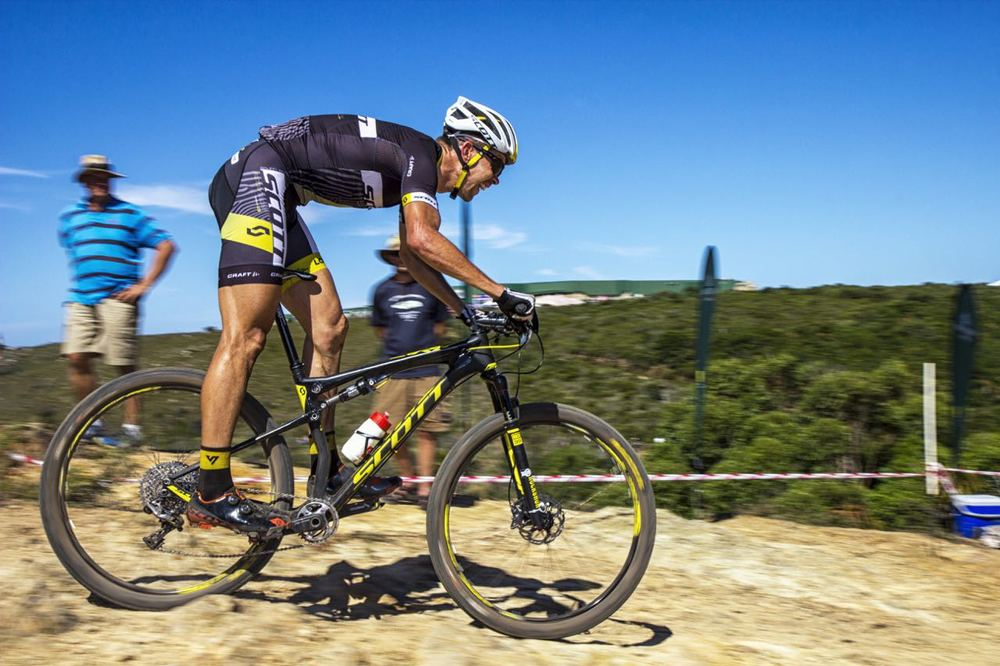 Philip Buys (Scott Factory Racing powered by LCB) at the opening round of the Stihl 2015 SA National XCO Cup Series in the Baakens Valley in Port Elizabeth on Saturday, 28 February © Andre Hugo