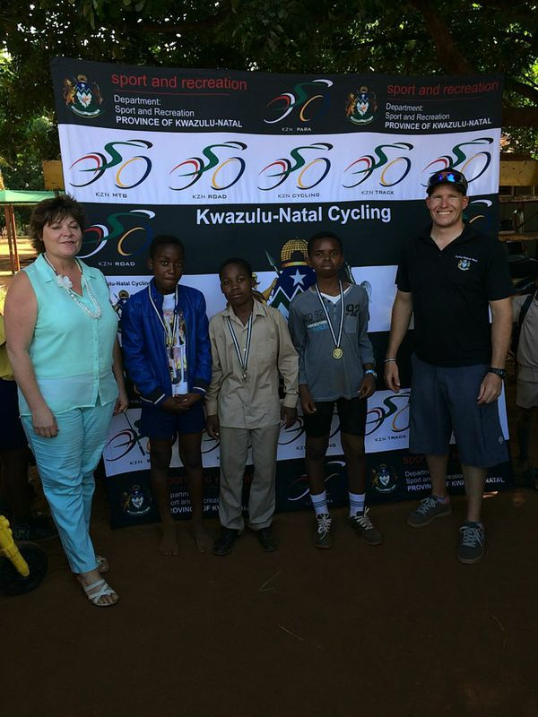 The 13-14 age group podium: Mnotho Xulu (1st), Kwazi Gumbi (2nd) and Kwandile Myeni (3rd). Mkuze Primary in the uMkhanyakude District on 24 February. Photo: supplied