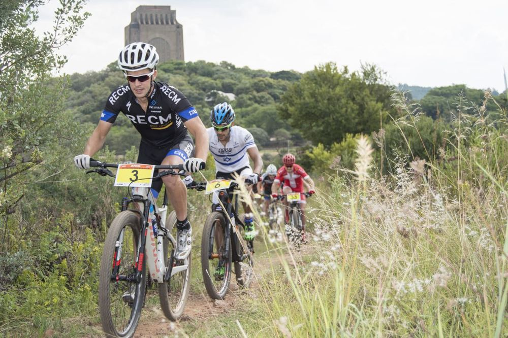 RECM's James Reid (2nd) followed by Israeli National Champion Shlomi Haimy (7th) at the 2015 Stihl SA MTB Cup XCO, which took place at Voortrekker Monument, Gauteng, on Saturday 28 March © Andrew Mc Fadden