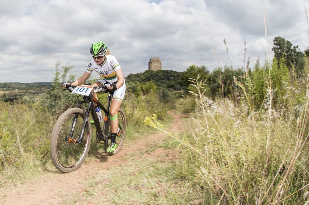 Mariske Strauss (OMX Pro Team) survived a flat tyre to secure victory in the Elite Women's race at the 2015 Stihl SA MTB Cup XCO, which took place at Voortrekker Monument, Gauteng, on Saturday 28 March © Andrew Mc Fadden