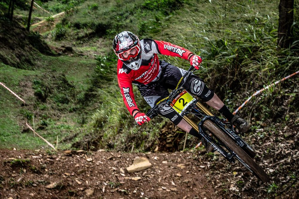 Sam Bull blitzes his final run to claim the national downhill title at the Pietermaritzburg MTB Festival at the Cascades MTB Park on Sunday. © craigdutton.com