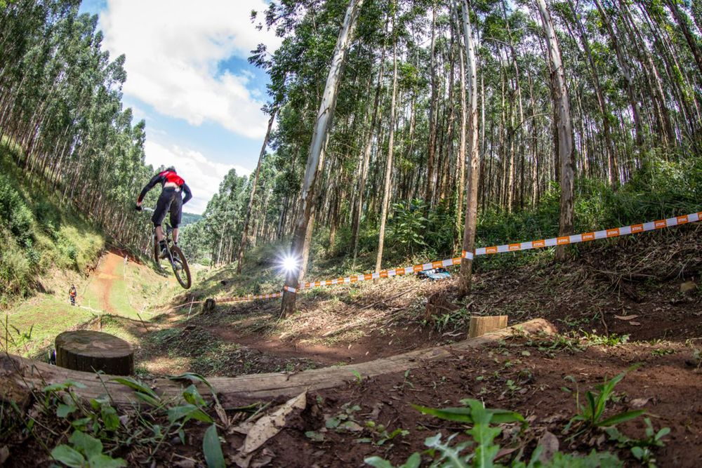 The thrilling racing for the national title at the downhill course at the Pietermaritzburg MTB Festival at the Cascades MTB Park wrapped up just before the rainstorm hit the area on Sunday afternoon. © craigdutton.com