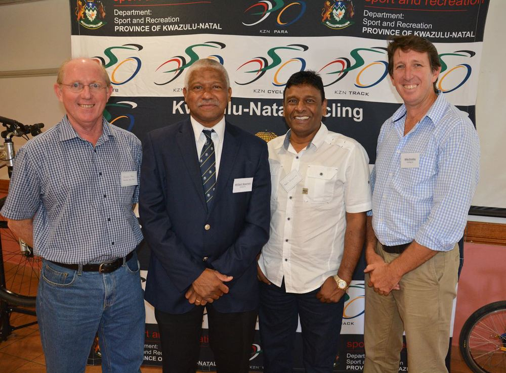 From left: Duncan Pool (KwaZulu-Natal Sports and Recreation), William Newman (Cycling SA President), Mr. Prem Vayapuri (KwaZulu-Natal Sports and Recreation) and Mike Bradley (Cycling SA General Manager) at KZN Cycling's first Development Indaba on 21 March 2015. Photo: supplied