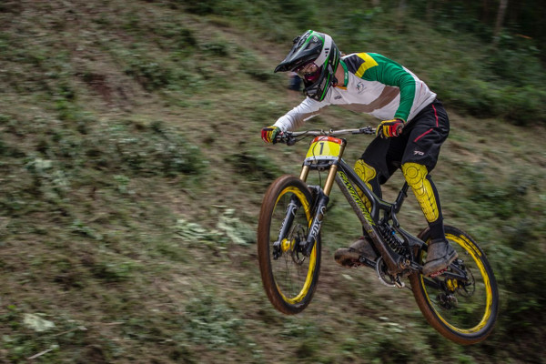 Three-time SA champ, Tiaan Odendaal took top honours in the Men's Elite Category in the third round of the 2015 Stihl SA MTB DHI Cup at Mankele MTB Park in Mpumalanga on Sunday 26th April. ©craigdutton.com