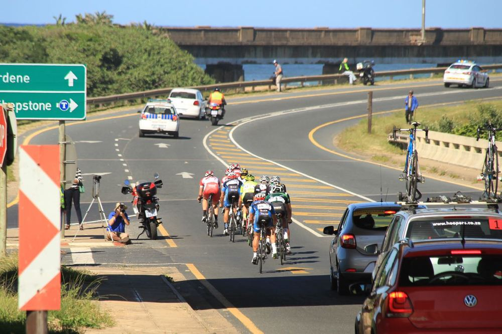 The chase group looking solid on the KZN coastline at the May Day Classic in Margate on Friday 1 May 2015. Photo: Supplied