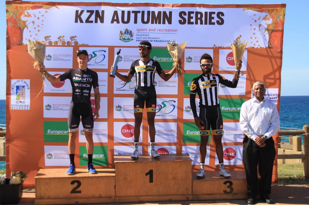 The Men's podium (from left) HB Kruger (Team Abantu), Metkel Eyob Teweldeberhan (MTN-Qhubeka Feeder Team) and Meron Teshome Hagos (MTN-Qhubeka Feeder Team) at the Hibiscus Coast Cycle Challenge in Margate on Sunday 3 May 2015. Photo: supplied