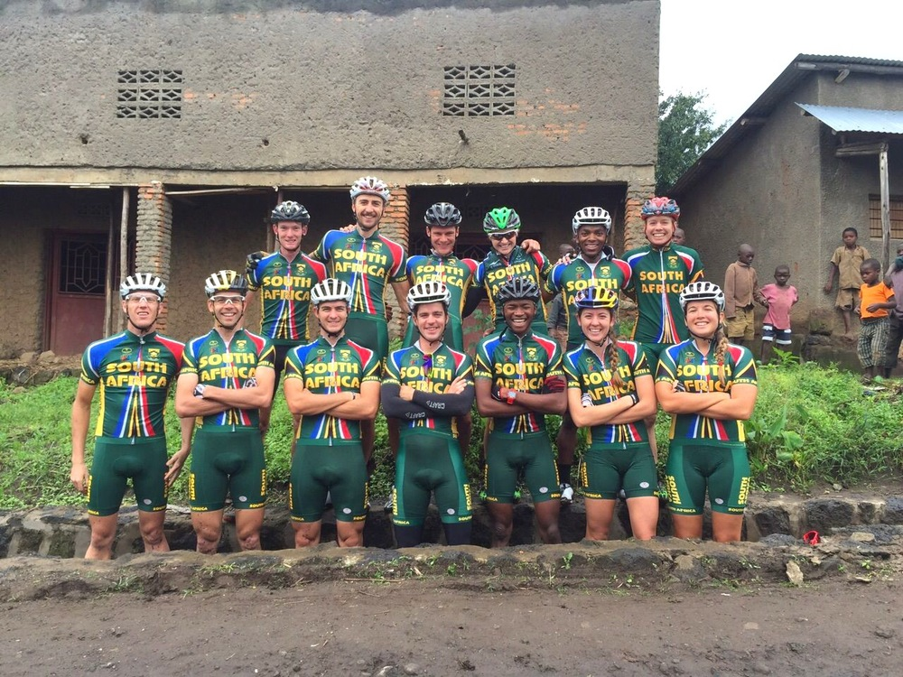 The SA MTB Team takes part in the African Continental Championships which take place in Rwanda from 8-10 May 2015. Back row from left: Johann Hartzenberg, Brendon Davids, Rourke Croesser, Mariske Strauss, Sipho Madolo, Cherie Vale. Front row from left: Matthys Beaukes, Philip Buys, Gert Heyns, James Reid, William Mokgopo, Bianca Haw, Candice Neethling. Photo: Supplied