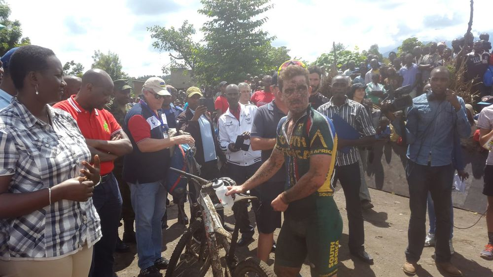 The muddy face of Elite Men's winner, James Reid (Team RECM) after the finish at the 2015 African Mountain Bike Continental Championships, which took place in Musanze, Rwanda from 8-10 May. Photo: Supplied