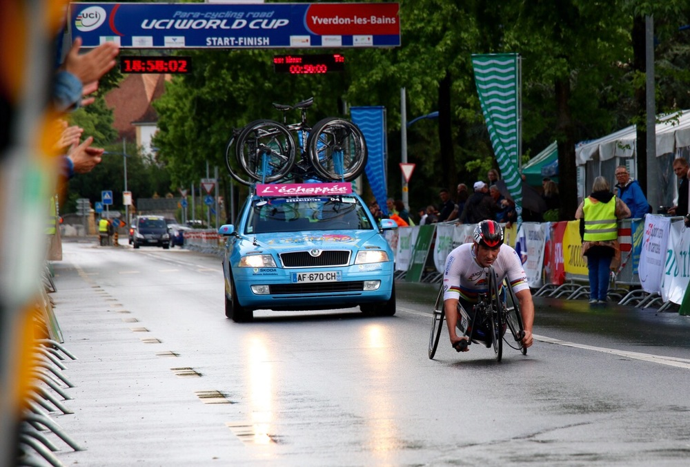 World Champion Ernst van Dyk crosses the line in his road race. He claimed silver medal in his time trial at the 2015 UCI Para-cycling Road World Cup in Yverdon-les-Bains, Switzerland, from 14-16 June. Photo: Illse du Preez