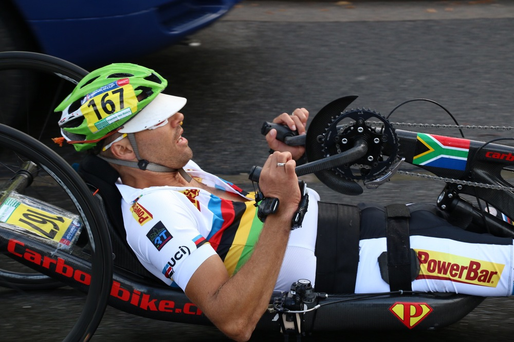 Pieter du Preez raced to two victories, getting gold medals in his road race and time trial at the 2015 UCI Para-cycling Road World Cup in Yverdon-les-Bains, Switzerland, from 14-16 June. Photo: Illse du Preez