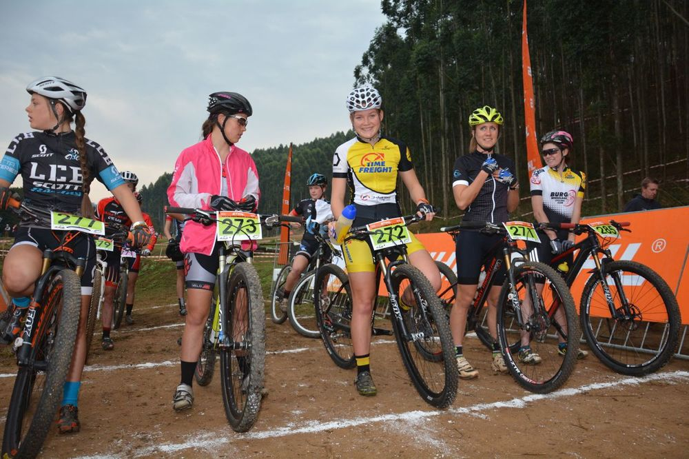 Frankie du Toit excited at the start of her Junior Women's race, where she claimed the victory at the 2015 Stihl SA MTB Cup XCO at Cascades, Pietermaritzburg, on 27 June. Photo: Gavin Ryan/Quick Pix