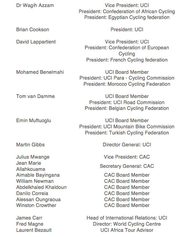 The following list is a breakdown of the primary role players at the 2015 CAC Forum.