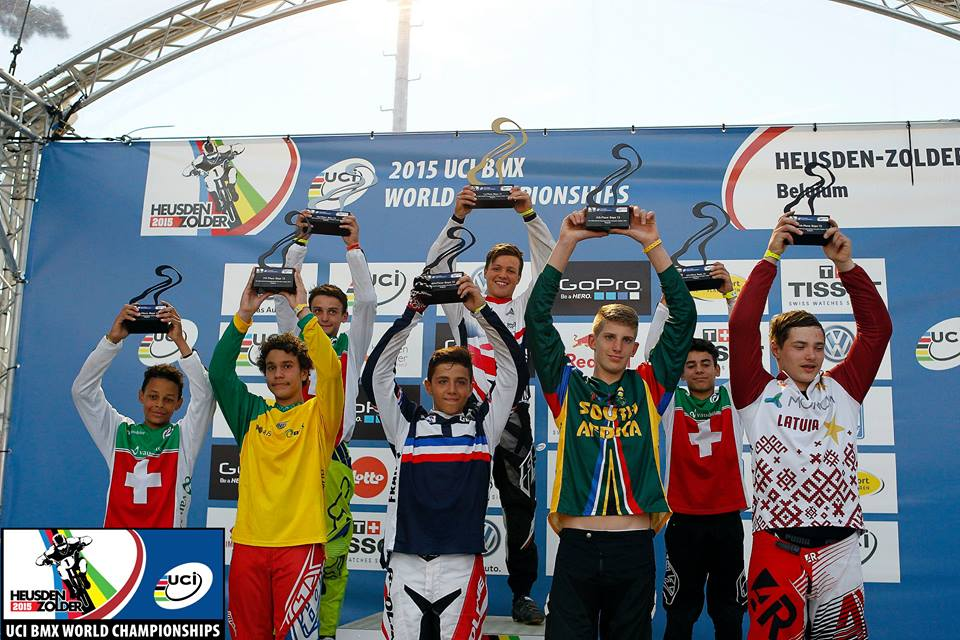 "Connor Terblanche received a World Number 5 in the 20"" 13 Boys - the first for South Africa at the 2015 UCI BMX World Championships at BMX track in Heusden, Belgium from 21-25 July 2015"
