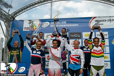 "Tyrone Johns crashed in the finals and grabbed a World Number 8 in the 20"" 30+ Mens category at the 2015 UCI BMX World Championships at BMX track in Heusden, Belgium from 21-25 July 2015."