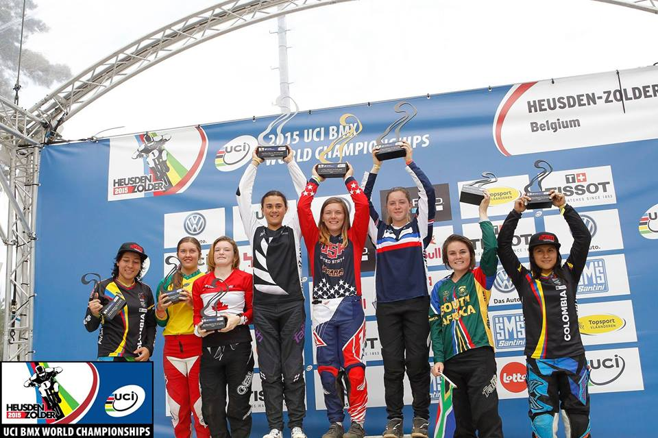 "In the 24"" Cruiser Girls 16-and-under  category, Lauren Coetzee claimed a World Number 5 at the 2015 UCI BMX World Championships at BMX track in Heusden, Belgium from 21-25 July 2015."