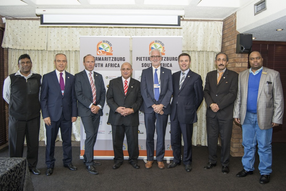 (From left to right) Prem Vayapuri (SA -  KZN Dept of Sport & Recreation); Emin Muftuoglu (Turkey - UCI Management Committee member, President UCI MTB Commission,); Tom van Damme (Belgium - UCI Management Committee member, President UCI Road Commission); Dr Wagih Azzam (Egypt – Vice President UCI, African Confederation President); Brian Cookson (Great Britain - UCI President); David Lappartient (France – Vice President UCI, European Confederation President); Mohamed Belhami (Morocco - UCI Management Committee member, President UCI Para Cycling Commission); Mr Mxolisi Nkosi (Municipal Manager, Msunduzi Municipality) who were present at the 2015 CAC Forum in Pietermaritzburg. Photo: Andrew McFadden/Boogs Photography
