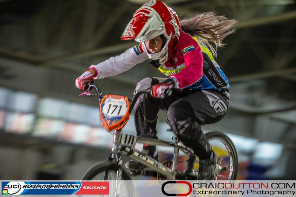 South Africa's Teagan O 'Keeffe is ready and focused for the weekend ahead, where she will represent her country at the UCI BMX Supercross World Cup No.3, which takes place at the Sibirien BMX Arena in Engelholm, Sweden, from 15-16 August 2015.  Photo:  ©   craigdutton.com/UCI    BMX Supercross World Cup