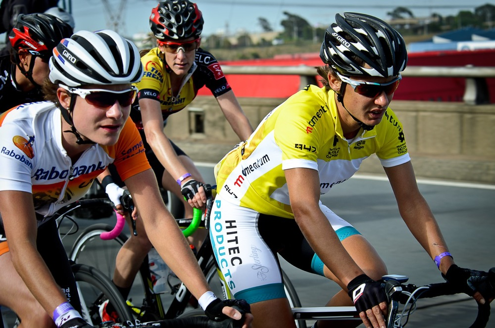International super-cyclist, Marianne Vos (left), South Africa's international cycling champion Ashleigh Moolman-Pasio (right), and Cycling SA's Women's Commission Director, Lise Olivier (centre) at the 2014 Momentum 947 Cycle Challenge women's race, which has been granted UCI 1.1 status for the 2015 event. Photo: supplied