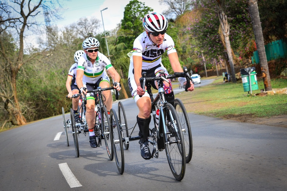 Australian Carol Cooke (2nd from front) claimed gold in a thrilling women's T2 road race on day two of the 2015 UCI Para-cycling Road World Cup in Pietermaritzburg on Saturday 12 September. Photo credit: Darren Goddard