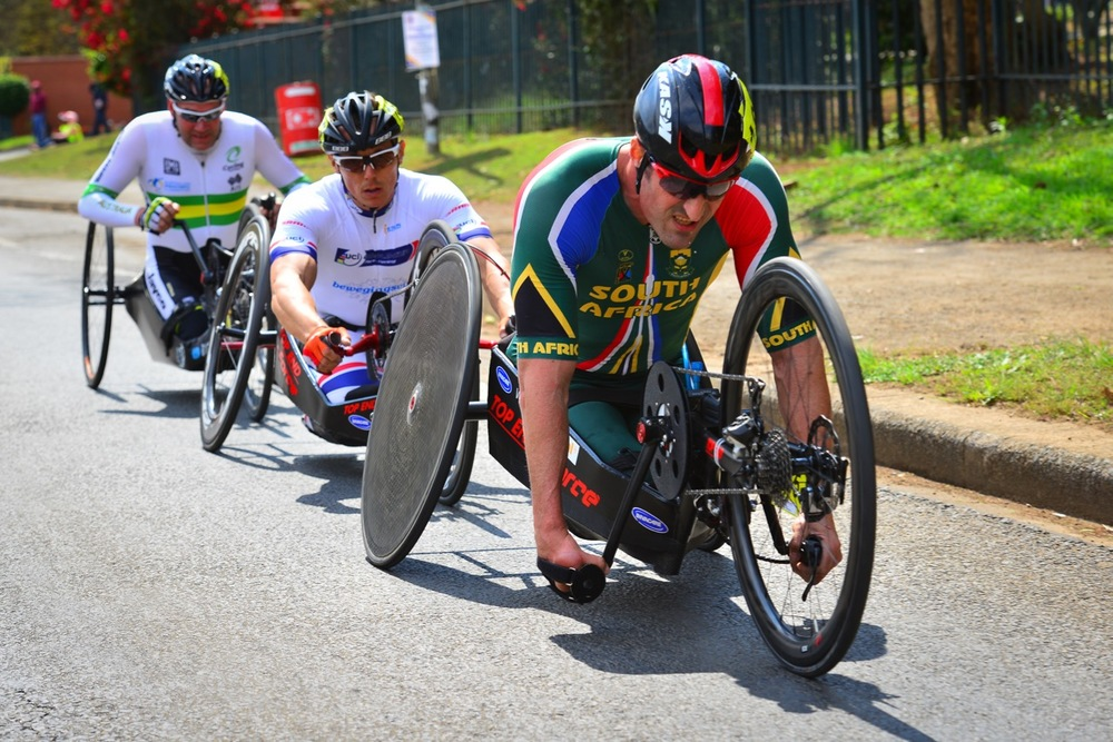 South African Ernst van Dyk claimed a gold medal in a thrilling sprint finish with Dutchman Tim de Vries (2nd) in the H5 road race on day two of the 2015 UCI Para-cycling Road World Cup in Pietermaritzburg on Saturday 12 September. Photo credit: Darren Goddard