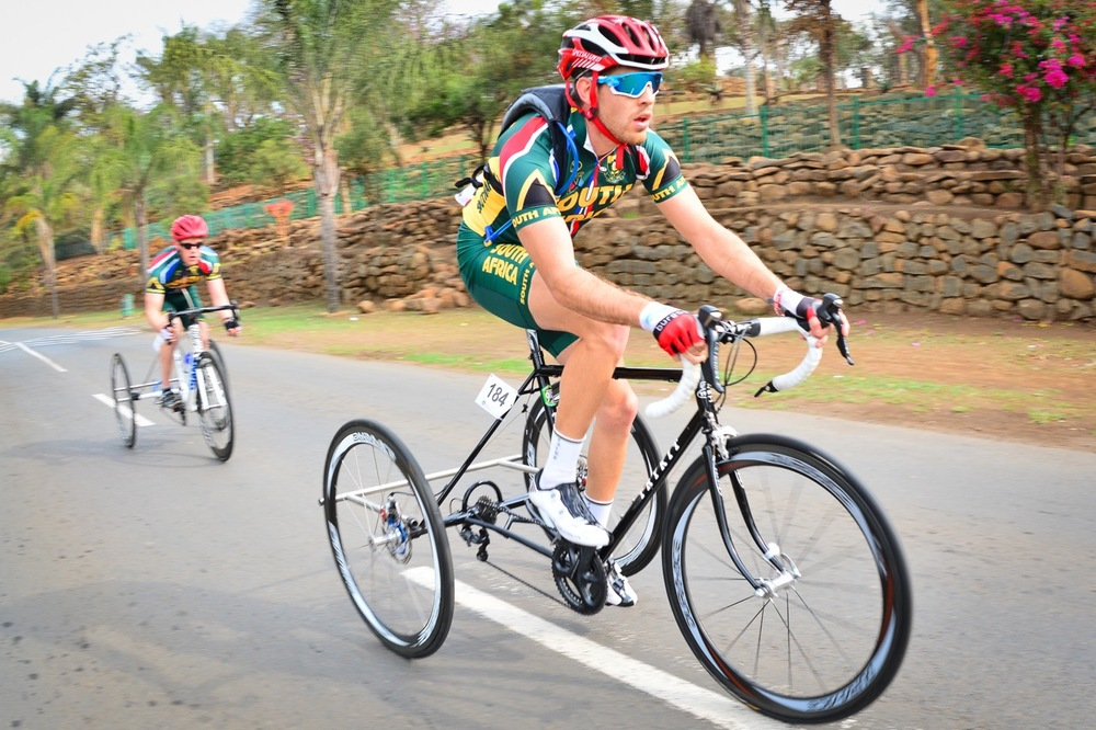 South African Goldy Fuchs (front) had the race of his life when he claimed victory from legendary Hans-Peter Durst (GER) in the Men's T2 road race on day two of the 2015 UCI Para-cycling Road World Cup in Pietermaritzburg on Saturday 12 September. Photo credit: Darren Goddard