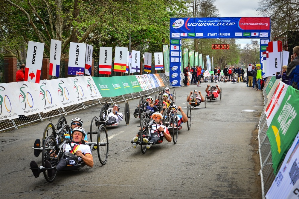 The start of the Men's H3 road race on day two of the 2015 UCI Para-cycling Road World Cup in Pietermaritzburg on Saturday 12 September. Photo credit: Darren Goddard
