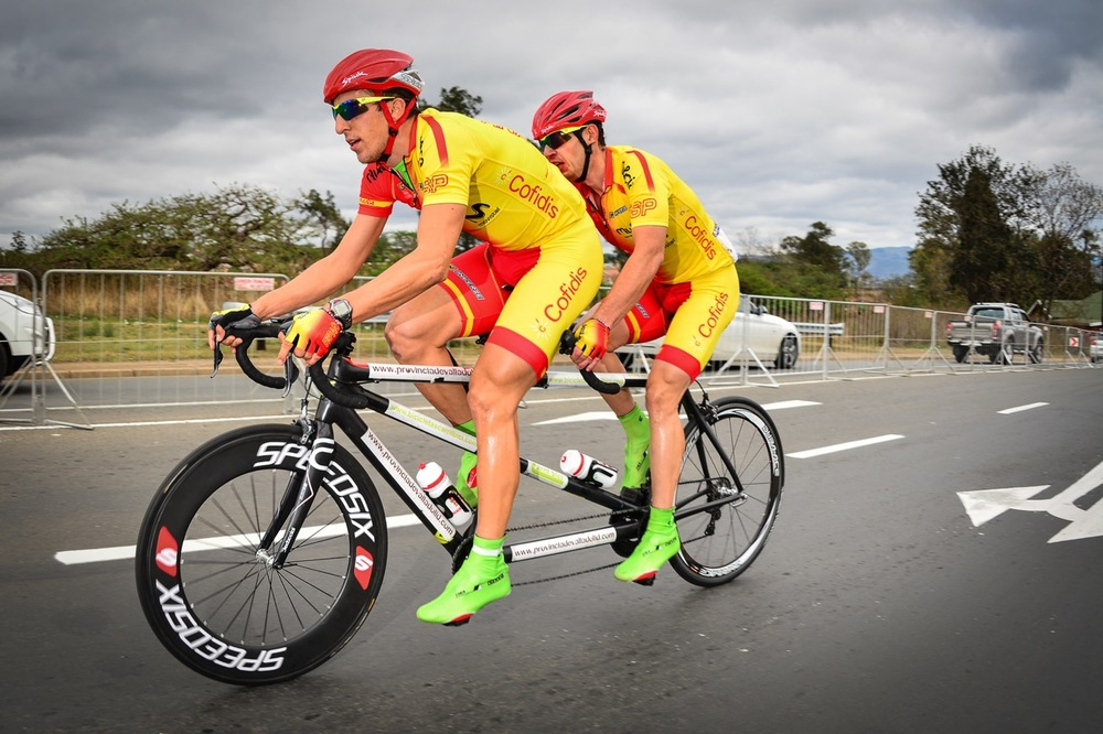 Carlos Gonzalez Garcia and Noel Martin Infante (ESP) powered to a decisive victory in the Men's B race on day three of the 2015 UCI Para-cycling Road World Cup in Pietermaritzburg on Sunday 13 September. Photo credit: Darren Goddard
