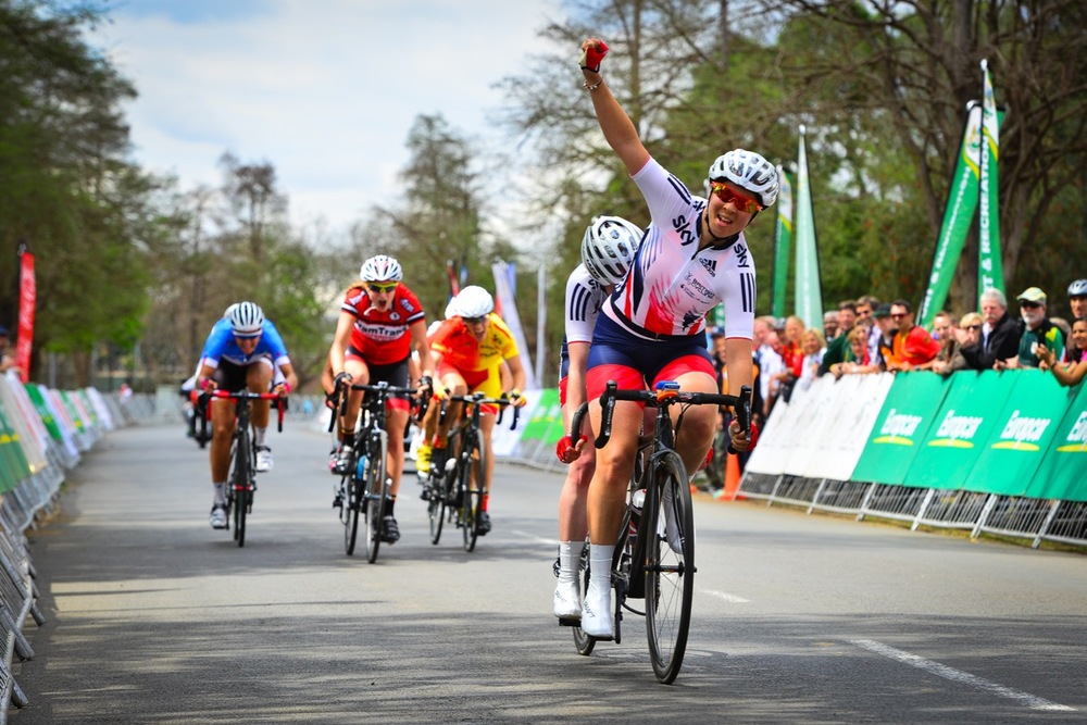A three-way sprint in the women's tandem race saw Great Britain's Lora Turnham and Corrine Hall claim the victory in the women's B race on day three of the 2015 UCI Para-cycling Road World Cup in Pietermaritzburg on Sunday 13 September. Photo credit: Darren Goddard