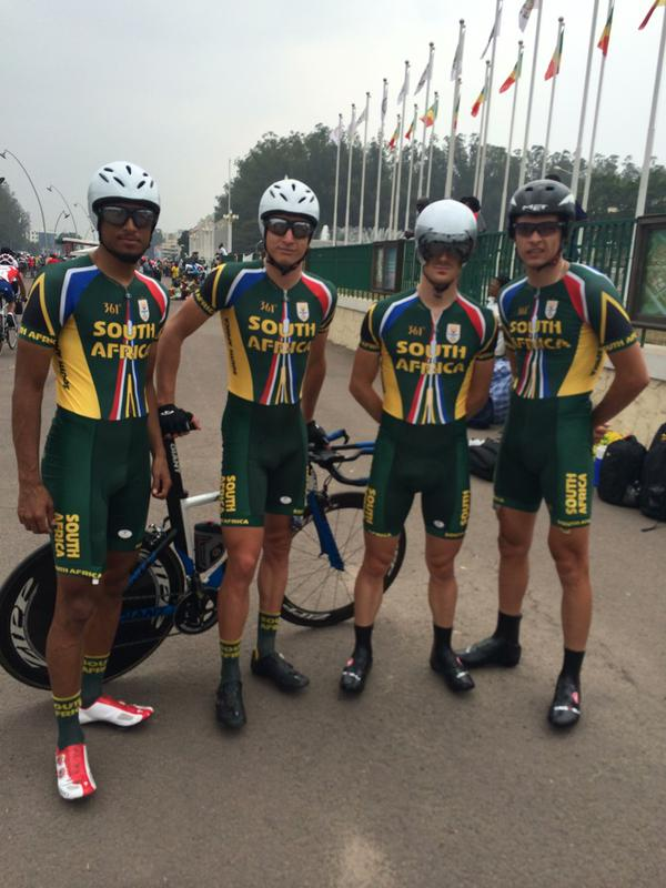 Reynard Butler, HB Kruger, Shaun-Nick Bester and Gustav Basson secured a gold medal when they clocked 29 minutes and 40 seconds in the 25km Team Time Trial at the 2015 African Games in Brazzaville, Congo, on Thursday 10 September. Photo: @Team_SA_Cycling