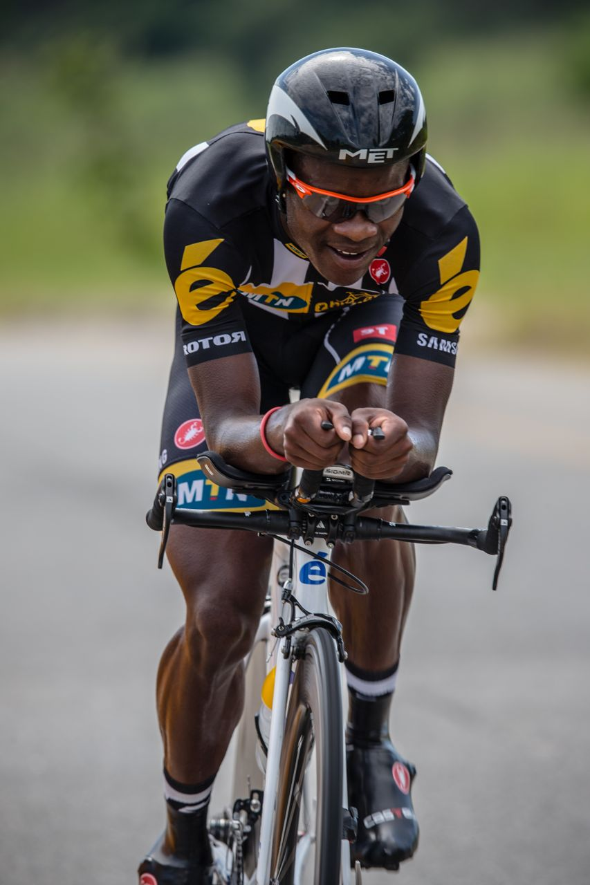 Nicholas Dlamini (20) was the first South African to roll down the ramp and put in his best effort to finish 2:13.40 off the winner's time, which would place him in 32nd position.