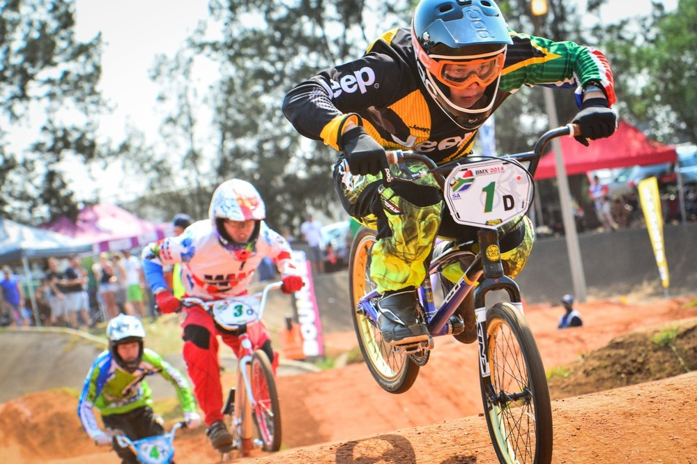 Alex Dolman in action as he claims victory in the 15 Years Boys clash at the South African National BMX Championships at Alrode BMX Club, Alberton © Darren Goddard