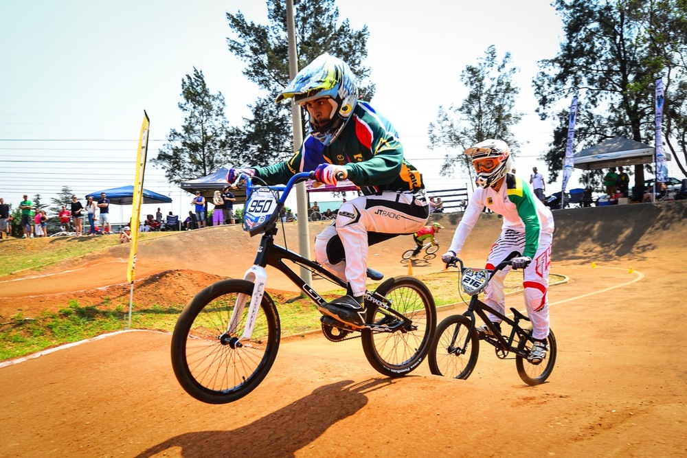 Alex Limberg (front) was great cause for concern for eventual elite men's national title winner Kyle Dodd (back) throughout the South African National BMX Championships at Alrode BMX Club, Alberton © Darren Goddard