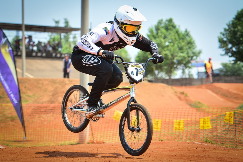 Dylan Eggar rewrote the South African BMX history books when he claimed his eleventh consecutive national title by winning the 16 Years Boys clash at the South African National BMX Championships at Alrode BMX Club, Alberton © Darren Goddard