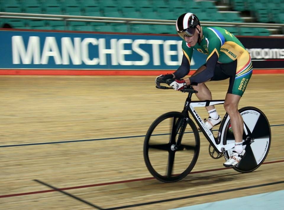 Gerrit Schepers raced with a broken rib and injured groin from a crash the day before, but secured a remarkable sixth place in his Men's 500m Time Trial 55-59 at the 2015 UCI Masters Track Cycling Championships in Manchester from 3-10 October. Photo: CSA Track - General Information (Facebook Group)