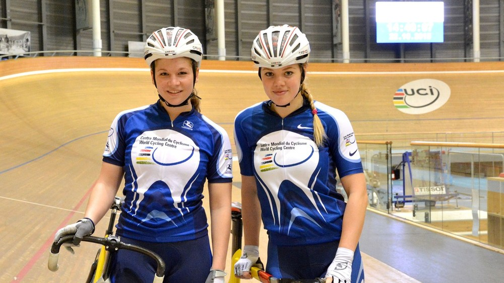 Odette Van Deventer (left) and Bernette Beyers, the first South African women track cyclists to train at the UCI World Cycling Centre in Aigle, are in Switzerland from September to December 2015. Photo: uci.ch