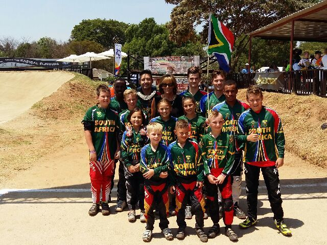 The South African BMX riders who represented their country at the 2015 African Continental BMX Championships in Harare, Zimbabwe on Saturday 14 November. Front Row - (Left to right): Marco Cherti, Deagan Macallum and Braden Schutte. 2nd Row: Ethan Ellse, Joshua Wright, Kyla Uys, Kita Uys, Delia Greyling, Alex Limberg, and Jarod Ellse. 3rd Row; Themba Hlophe, Dirk Uys, Cycling South Africa's BMX Commission Director, Margot Gerber, Tyler Klumper and Kyle Dodd.