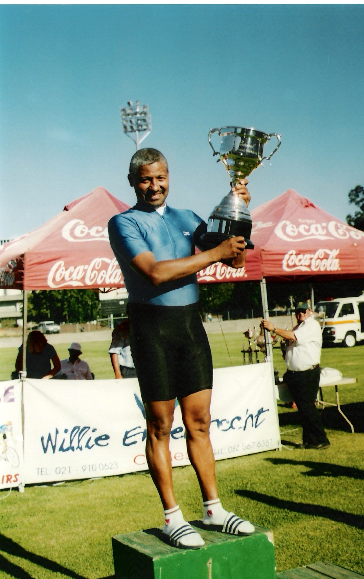 "Cycling South Africa President, William Newman, won the ""Best Veteran Cyclist"" trophy three years in succession at the Paarl Boxing Day Track cycling event. Photo: Supplied"