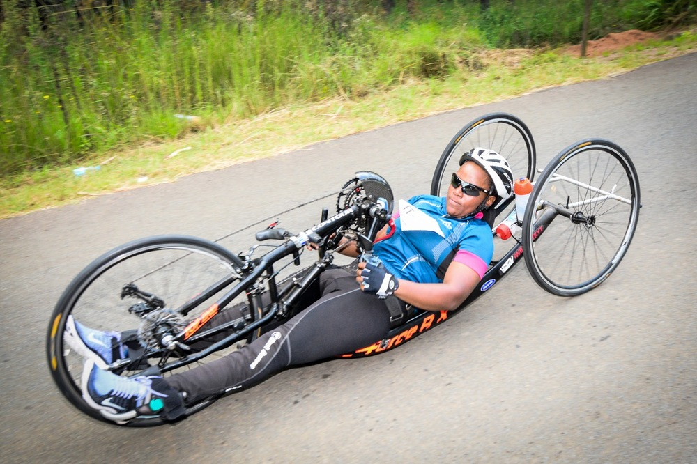 "Celebrity ""DJ"" Palesa Manaleng (H3) competed in her first National Time Trial and thoroughly enjoyed the KwaZulu-Natal countryside at the 2016 SA National Road, Time Trial and Para-cycling Championships in Wartburg, KwaZulu-Natal, on Wednesday 10 February. Photo credit: Darren Goddard"
